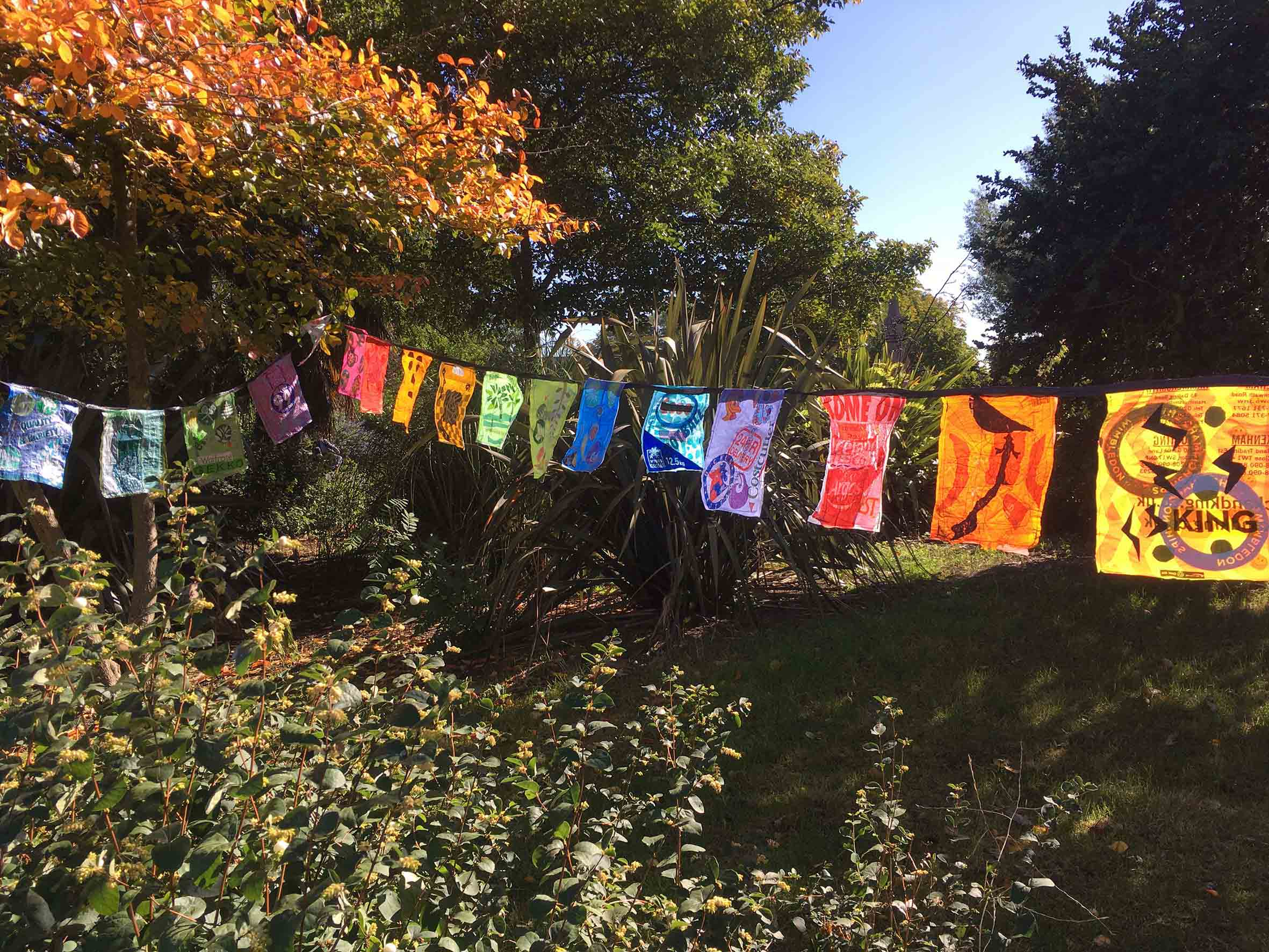 Prayer Flags made by families affected by Grenfell Fire 2017.