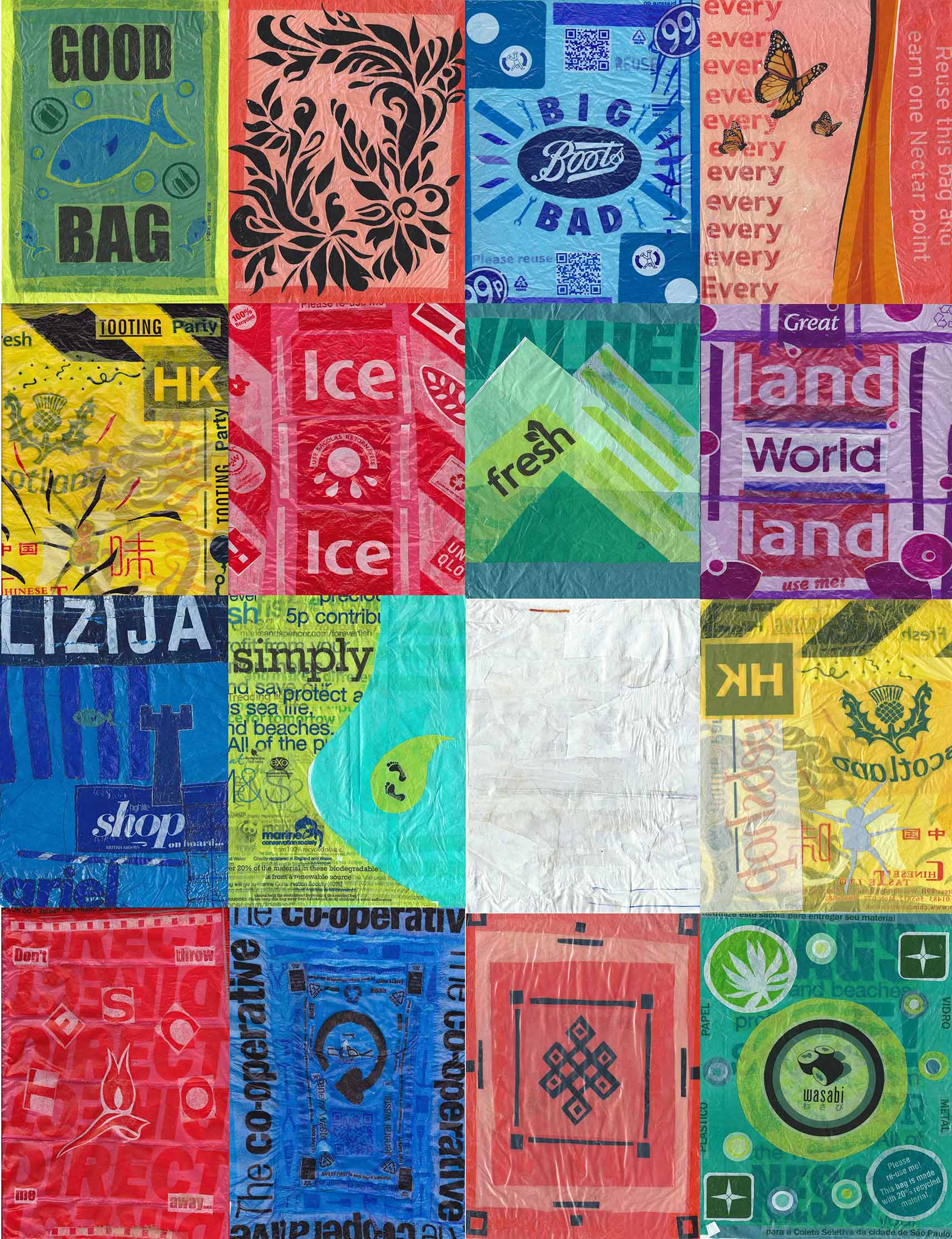 Prayer flags contructed from plastic bags